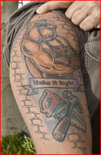holmes mike tattoo tattoos arm pressure bulldog bicep right final arms english hgtv peer update muscular