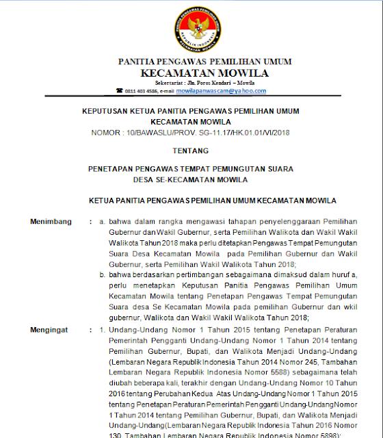 Contoh Surat Keputusan Sk Penetapan Pengawas Tps Ptps Mail
