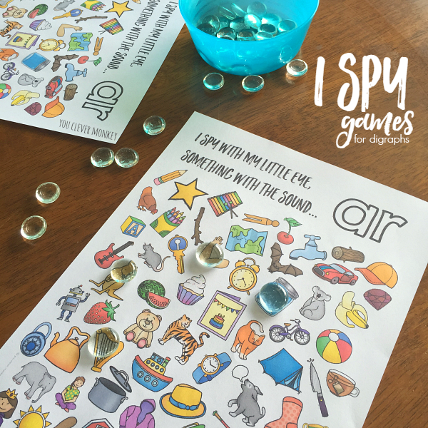 Printable Digraph Activities - Sound Mazes and I Spy Games perfect for Word Work or Literacy Centers   you clever monkey