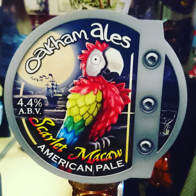 Cambridgeshire Craft Beer Review: Scarlet Macaw from Oakham Ales real ale pump clip