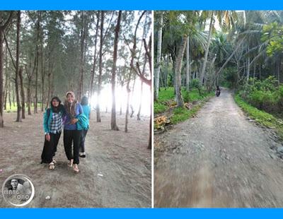 Pantai Desa Pusong dan jalan satu-satunya menuju Desa Pusong (Foto Oleh: P56)