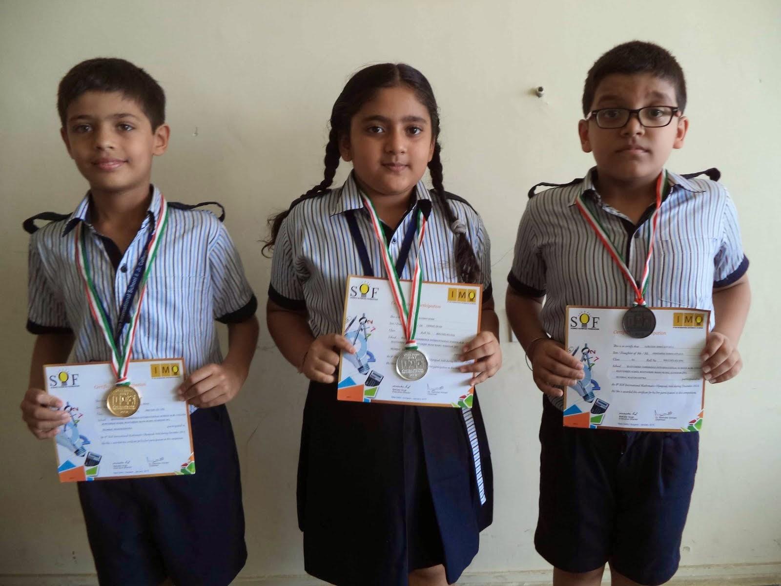 The Rustomjee Cambridge Diaries: Winners list of Math Olympiad