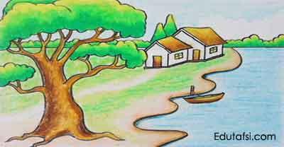 Belajar menggambar pohon dengan oil pastels