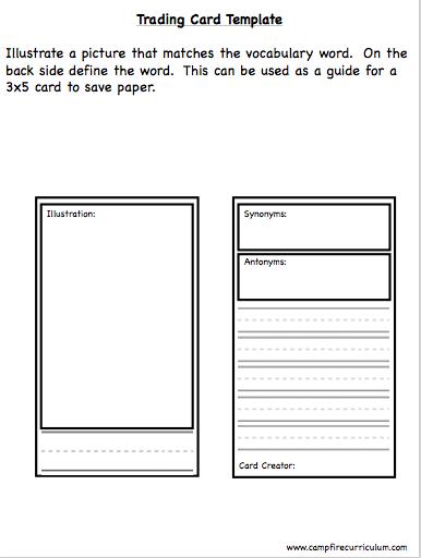vocabulary card template