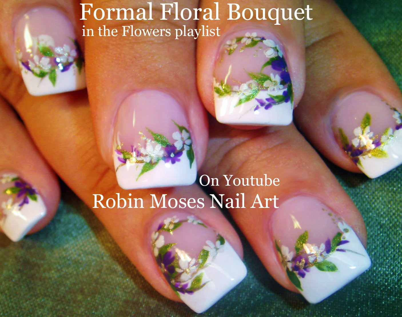 Nail art by robin moses elegant white flower nails wedding nails true stand alone designs you can take to your nail tech or an artistic friend and have them practice on you to get the looks you want for your special day izmirmasajfo