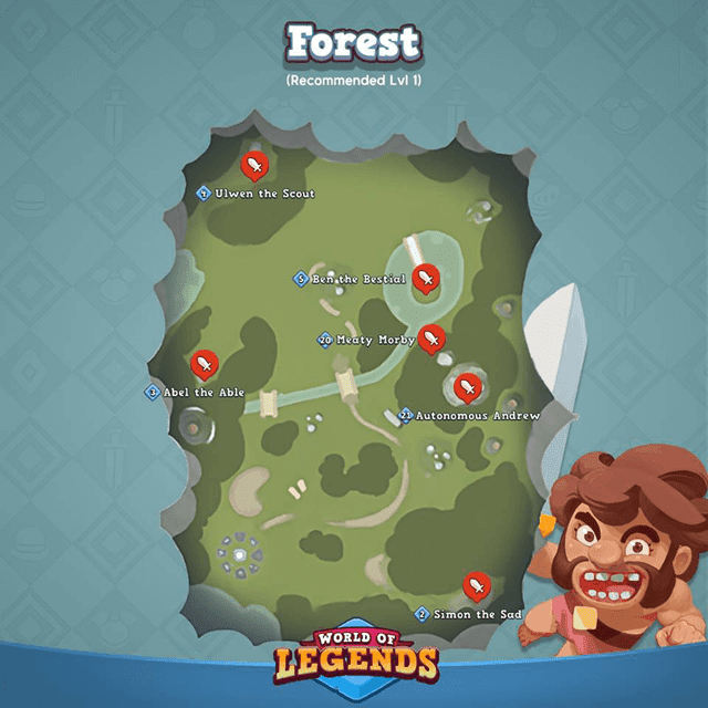 World and Legends: Forest Map and Boss Locations