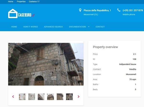 Một ngôi nhà được rao bán trên trang web Case 1 Euro.