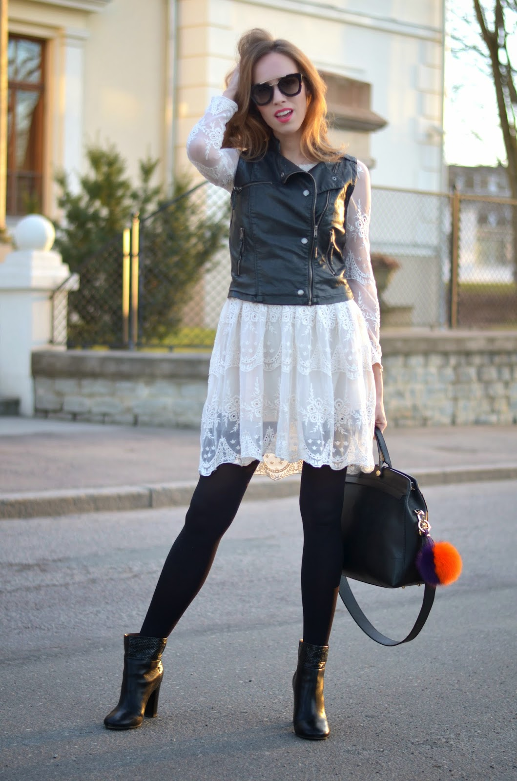 black-white-contrast-outfit-leather-lace kristjaana mere