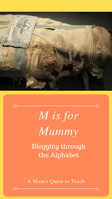 M is for Mummy; photograph of Egyptian mummy
