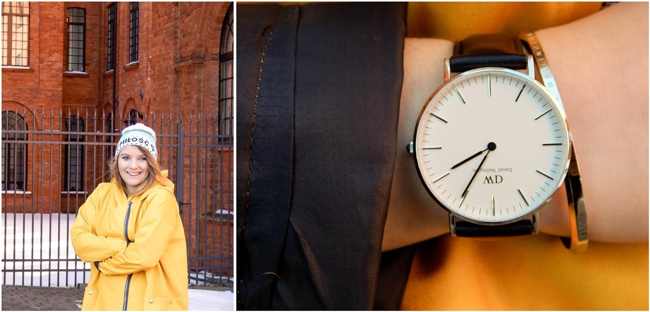 10 żółty płaszcz sztormiak kurtka w intendywnym kolorze daniel wellington kod zniżkowy blog melodylaniella łódź moda style ootd outfit lookbook