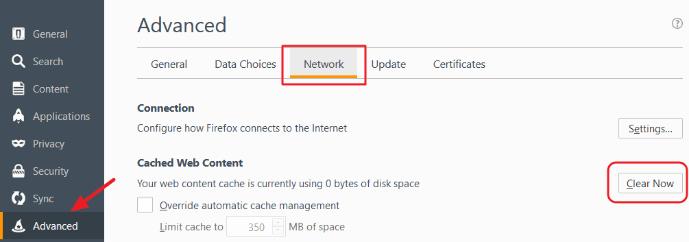 click network under firefox