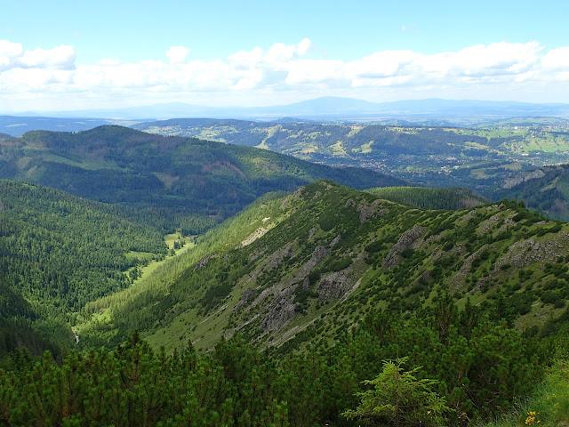 Widok z Przełęczy między Kopami na dwa szlaki na Halę Gąsienicową