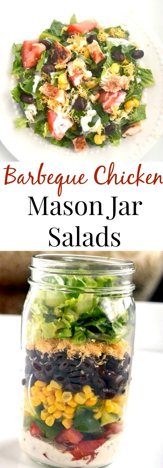 These barbeque chicken mason jar salads can be made ahead of time and enjoyed throughout the week! They are filling with BBQ chicken, black beans, corn, cheddar cheese and vegetables. www.nutritionistreviews.com