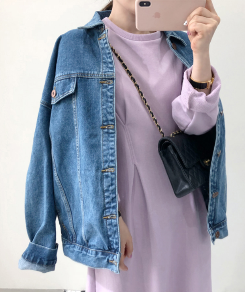Point Collar Button-Up Denim Jacket