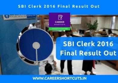 SBI Clerk 2016 Final Result Out