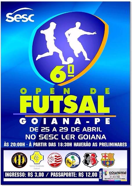 6º Open de Futsal acontece de 25 a 29/04 no SESC LER Goiana