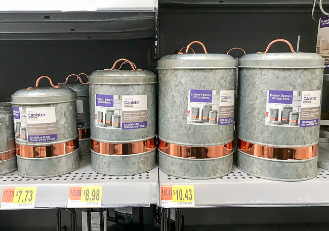 Galvanized canisters from Walmart