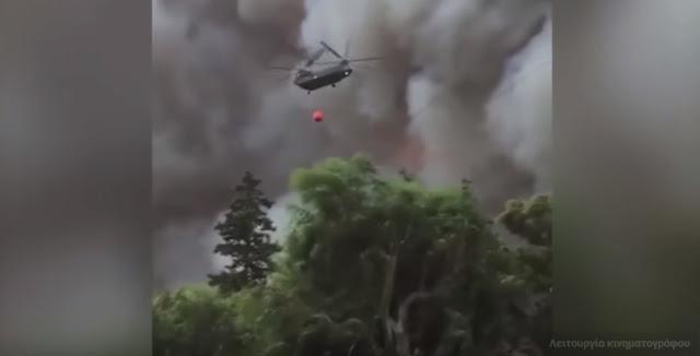 Εικόνες που κόβουν την ανάσα! Καναντέρ και ελικόπτερα κάνουν βουτιές στις φωτιές της Αττικής (βίντεο)