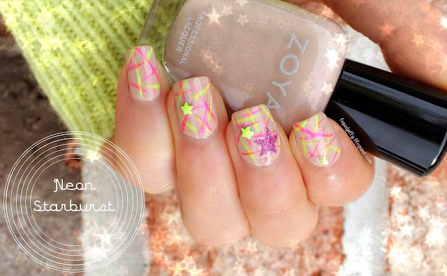 Liquid Jelly Nail Art Neon Starburst With Bps Studs