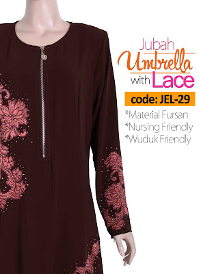 Jubah Umbrella Lace JEL-29 Brown Depan 9