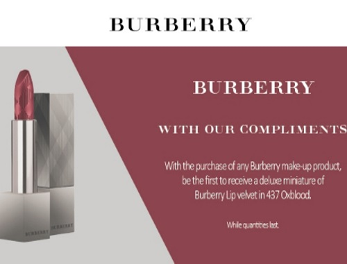 Hudson's Bay Burberry Free Lipstick Deluxe Miniature