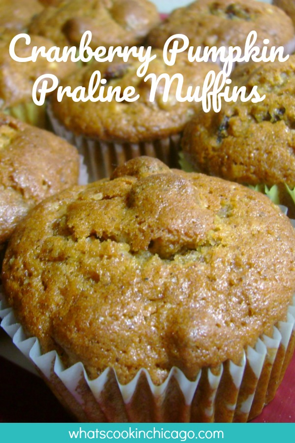 titled image of cranberry pumpkin praline muffins