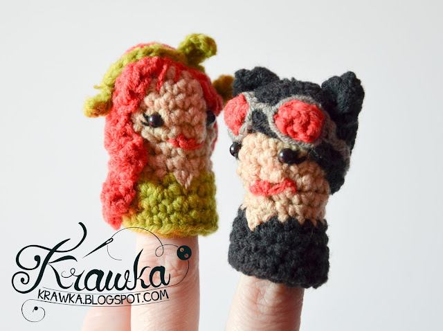 Krawka:Set of finger puppets villains -Catwoman,Poison Ivy, Joker, Penguin, Riddler with free crochet pattern