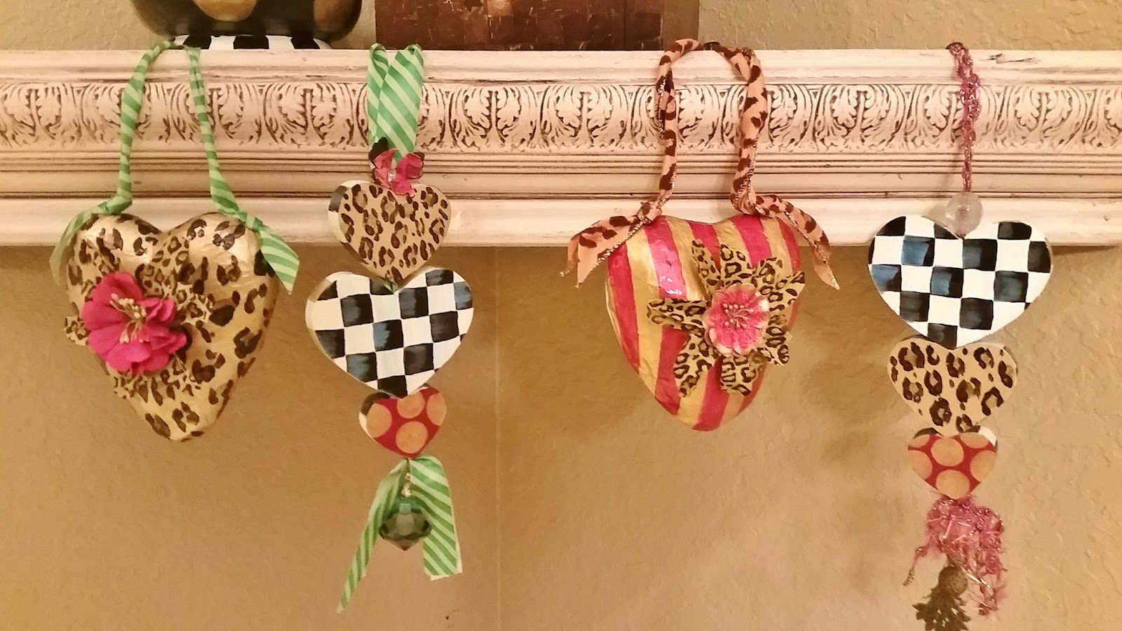hand painted black and white check heart ornaments