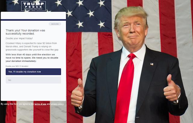 Donald Trump online donation website double offer