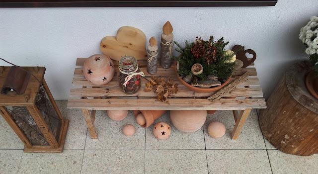 Terrakotta und Holz Winterdeko