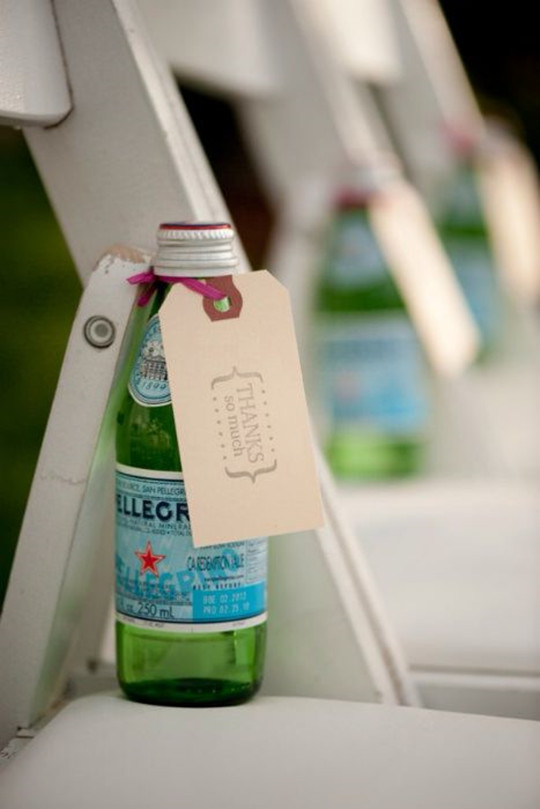 summer outdoor wedding a chilled bottle of water