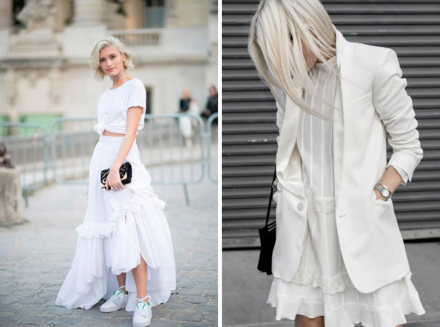 Девушки в белой футболке и длинной пышной белой юбке и белых кроссовках, в белом кружевном платье и белом жакете
