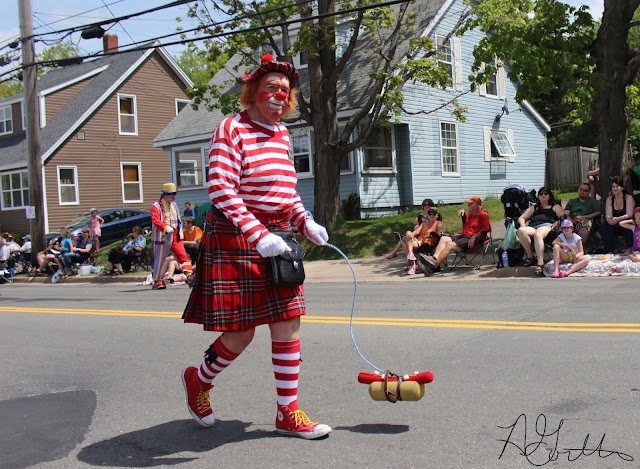 Clown walking a hotdog