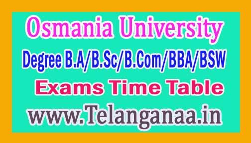OU Degree B.A/B.Sc/B.Com/BBA/BSW 1st Sem Exams Time Table 2016 Osmania University