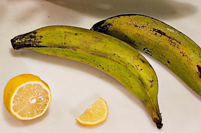 Unripe green plantains