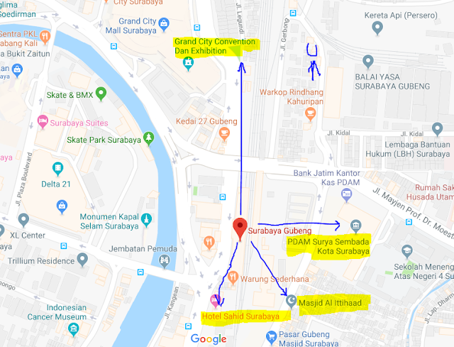 Titik Jemput Penumpang Ojek Online Gojek-Grab di Stasiun Gubeng Surabaya