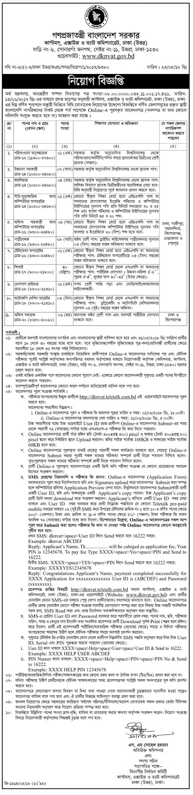 Customs, Excise & VAT Commissionerate, Dhaka (North) Job Circular 2018