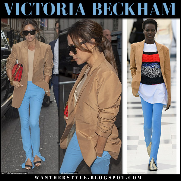 Victoria Beckham in camel blazer and light blue slit pants london fashion week outfits september 16