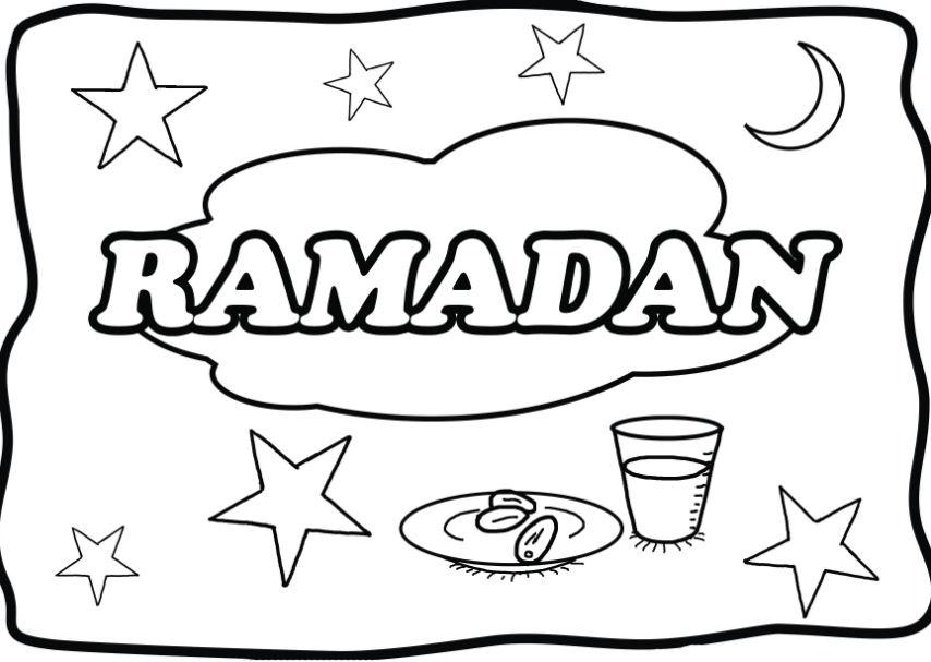 Gambar Mewarnai Ramadhan Bulan Puasa Penuh Berkah Gambar
