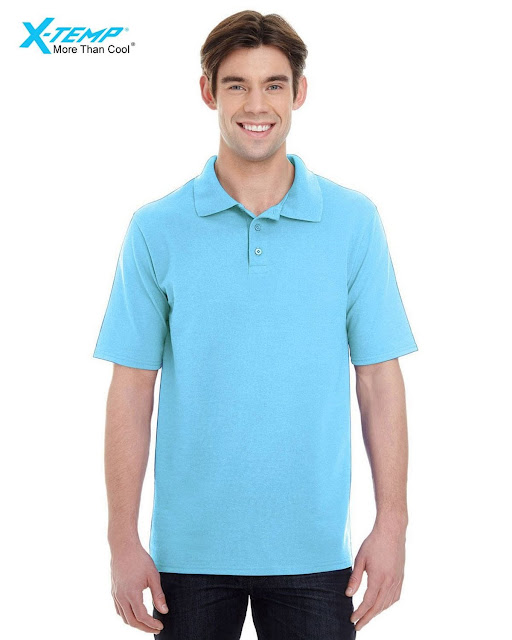 Hanes 055P Mens X-Temp Pique Short-Sleeve Polo- Blue Horizon – M