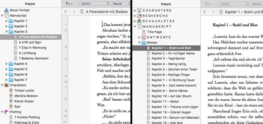So langsam habe ich die für mich bestmögliche Art und Weise der Manuskriptverwaltung in Scrivener gefunden. // Screenshot © fieberherz.de
