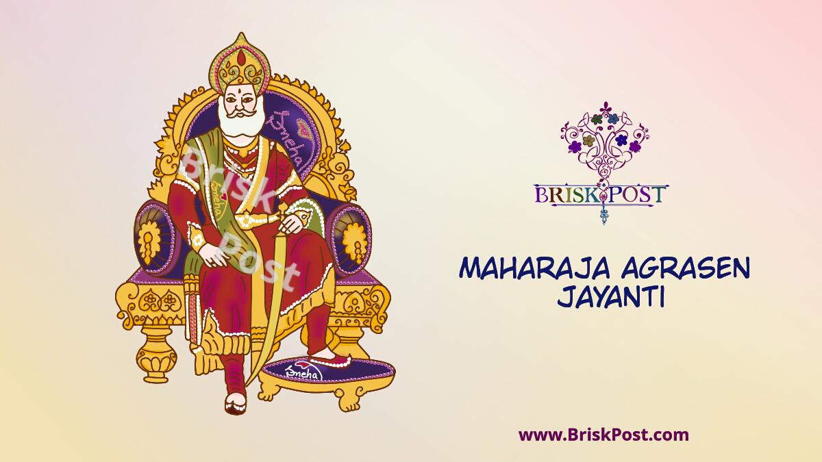 Maharaja Agrasen Jayanti illustration cartoon: Agroha's King Agrasen sitting regally on his throne with his royal, rich, yet kind presence and aesthetic cultural heritage!
