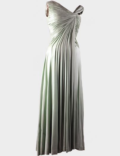 Celedon green long evening gown designed by Oleg Cassini and worn by Mrs Kennedy to White House Dinner
