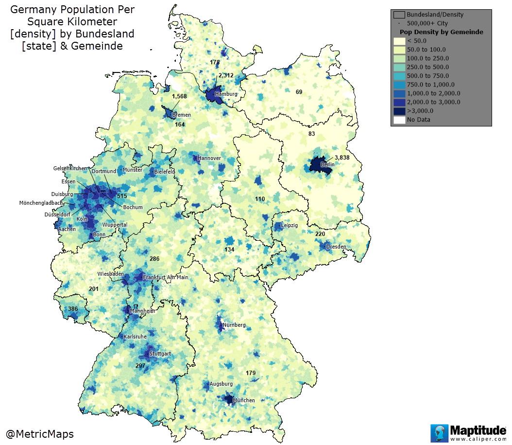 Germant population per square kilometer