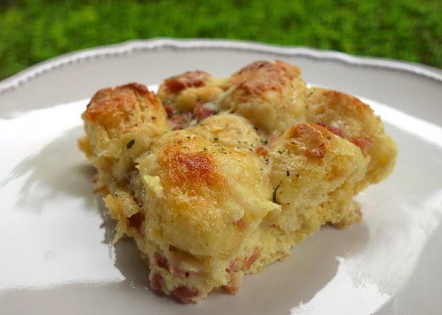 Ham and Cheese Biscuit Bake - refrigerated biscuits tossed with ham ...