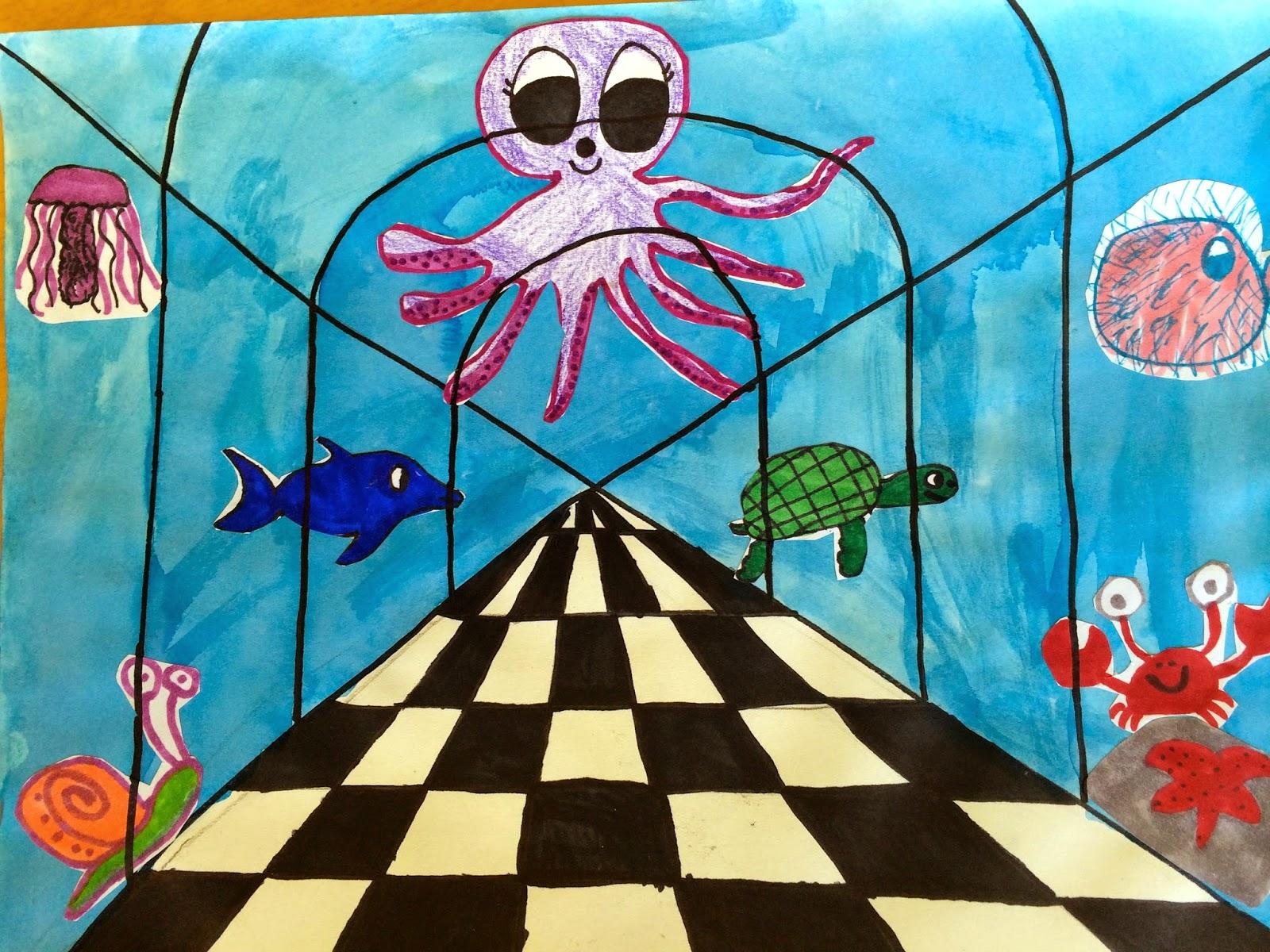 Sacred Heart Art Room One Point Perspective Aquarium