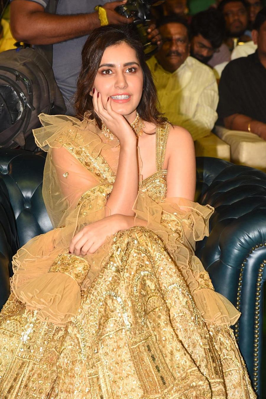 Indian Actress Raashi Khanna at Venky Mama Movie Pre Release Function