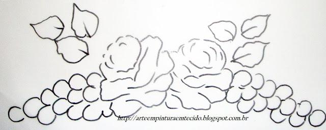 pintura em tecido pano de prato risco rosa