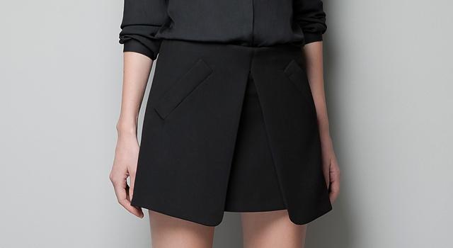 4424e70a9 La falda negra con picos delanteros de Zara | Zara is the new black ...