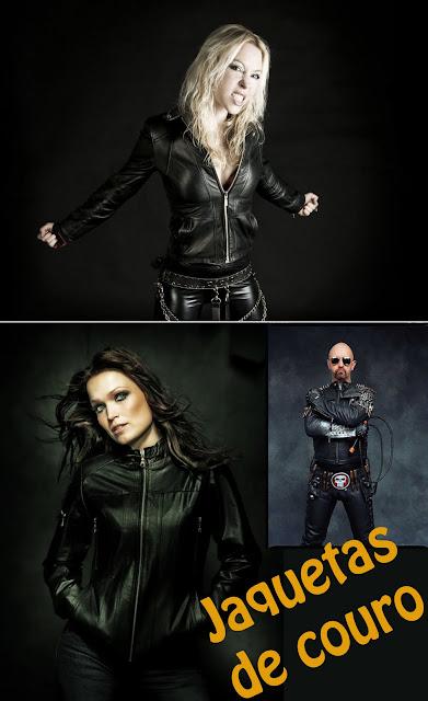 Jaquetas de couro no heavy metal. Angela Gossow, Tarja Turunen, Rob Halford